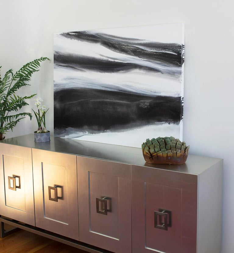 'Black Tie', Abstract Black,White & Silver Metallic Contemporary Painting  For Sale 6