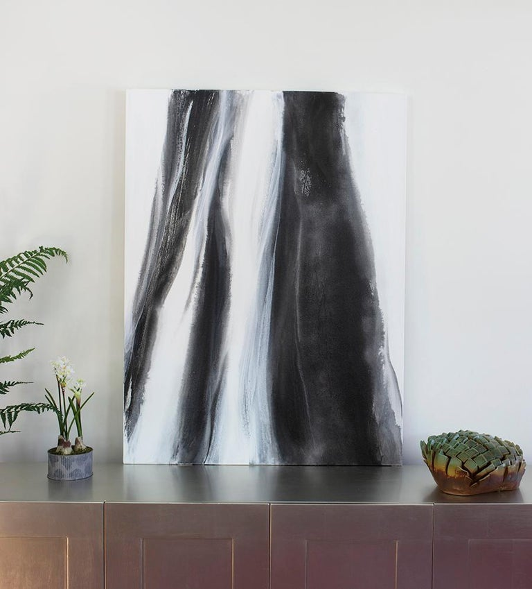 'Black Tie', Abstract Black,White & Silver Metallic Contemporary Painting  For Sale 7