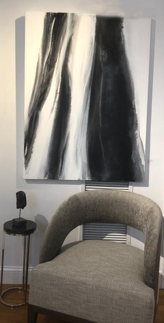 'Black Tie', Abstract Black,White & Silver Metallic Contemporary Painting
