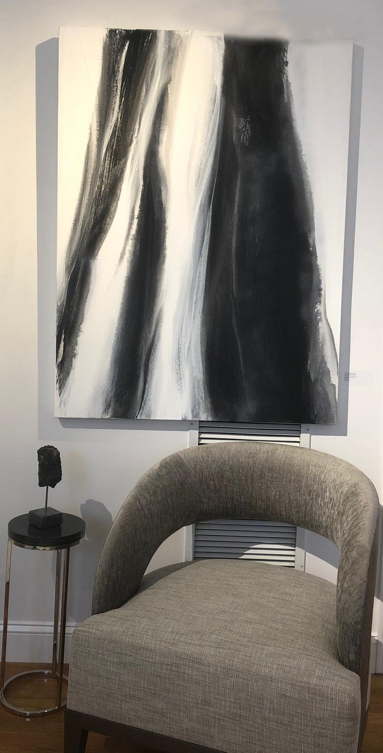Black & white with silver metallic. Gallery-wrapped canvas sides painted silver. Ready to hang; No framing necessary.  Hangs vertical or horizontal wired on back by artist.  ARTIST BIO Teodora Guererra received her Bachelor of Arts in Art