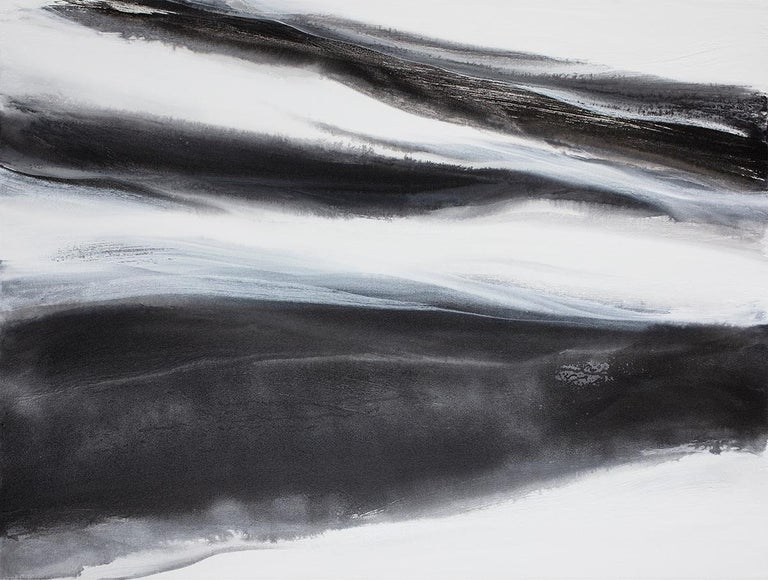 Teodora Guererra Abstract Painting - 'Black Tie', Abstract Black,White & Silver Metallic Contemporary Painting