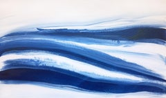 Denim Blues 2, Abstract Navy Contemporary Acrylic Painting