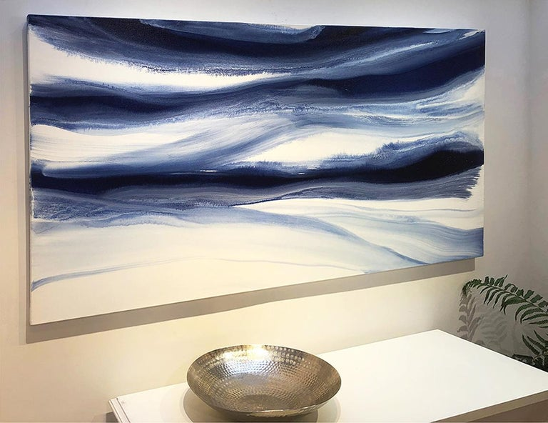 'Denim Blues', Large contemporary abstract acrylic painting For Sale 1