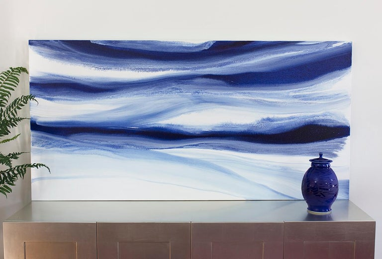 'Denim Blues', Large contemporary abstract acrylic painting For Sale 2