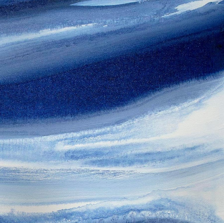 'Denim Blues', Large contemporary abstract acrylic painting For Sale 3