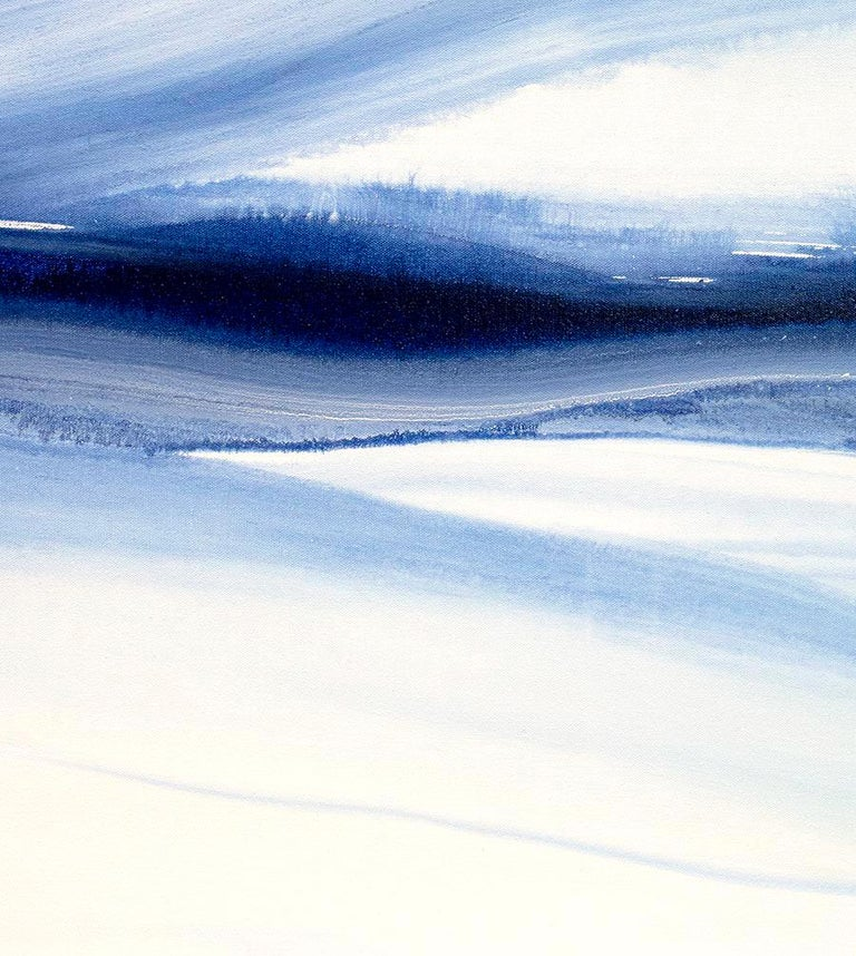 'Denim Blues', Large contemporary abstract acrylic painting For Sale 4