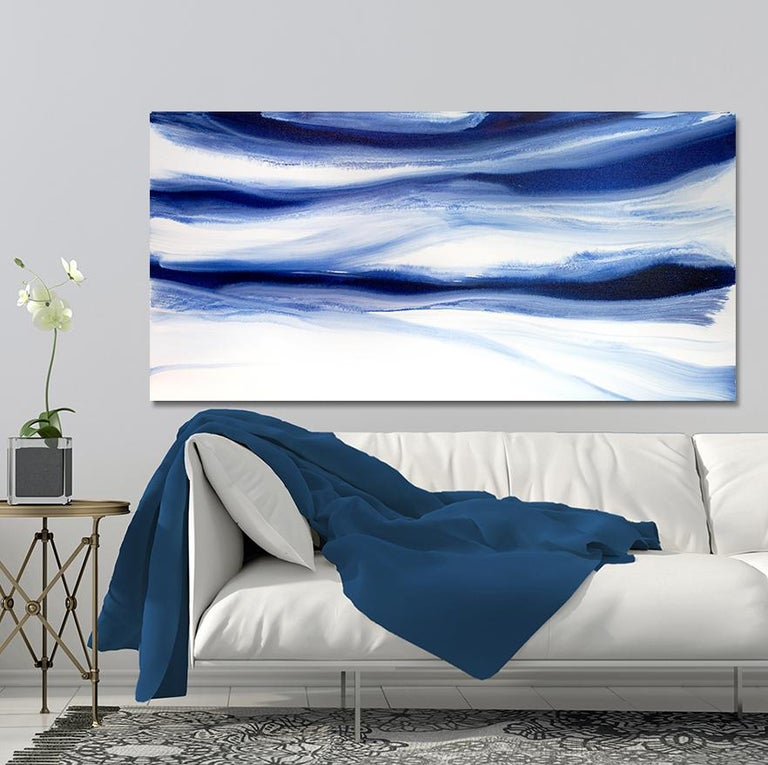 'Denim Blues', Large contemporary abstract acrylic painting - Art by Teodora Guererra