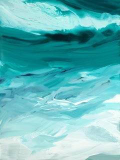 'Emerald Waves', Contemporary Abstract Teal Acrylic Painting