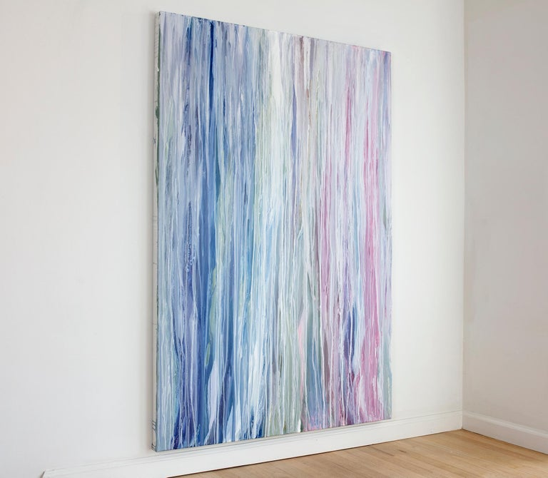 'Flamingo Waterfall', Large contemporary abstract acrylic drip painting - Painting by Teodora Guererra