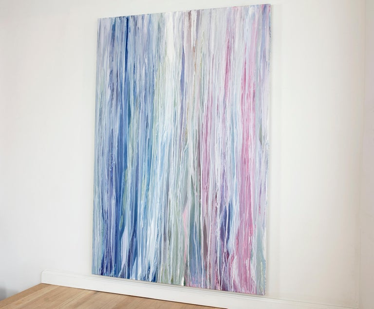 'Flamingo Waterfall', Large contemporary abstract acrylic drip painting - Contemporary Painting by Teodora Guererra