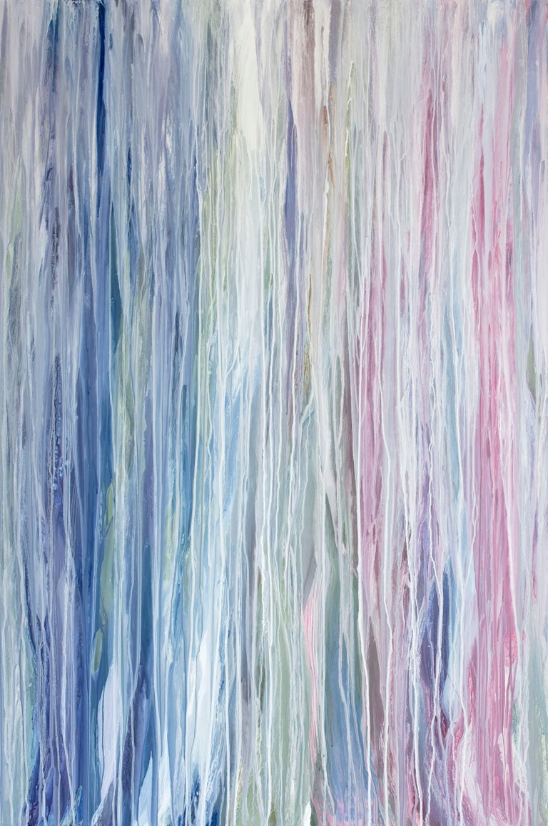 Teodora Guererra Abstract Painting - 'Flamingo Waterfall', Large contemporary abstract acrylic drip painting