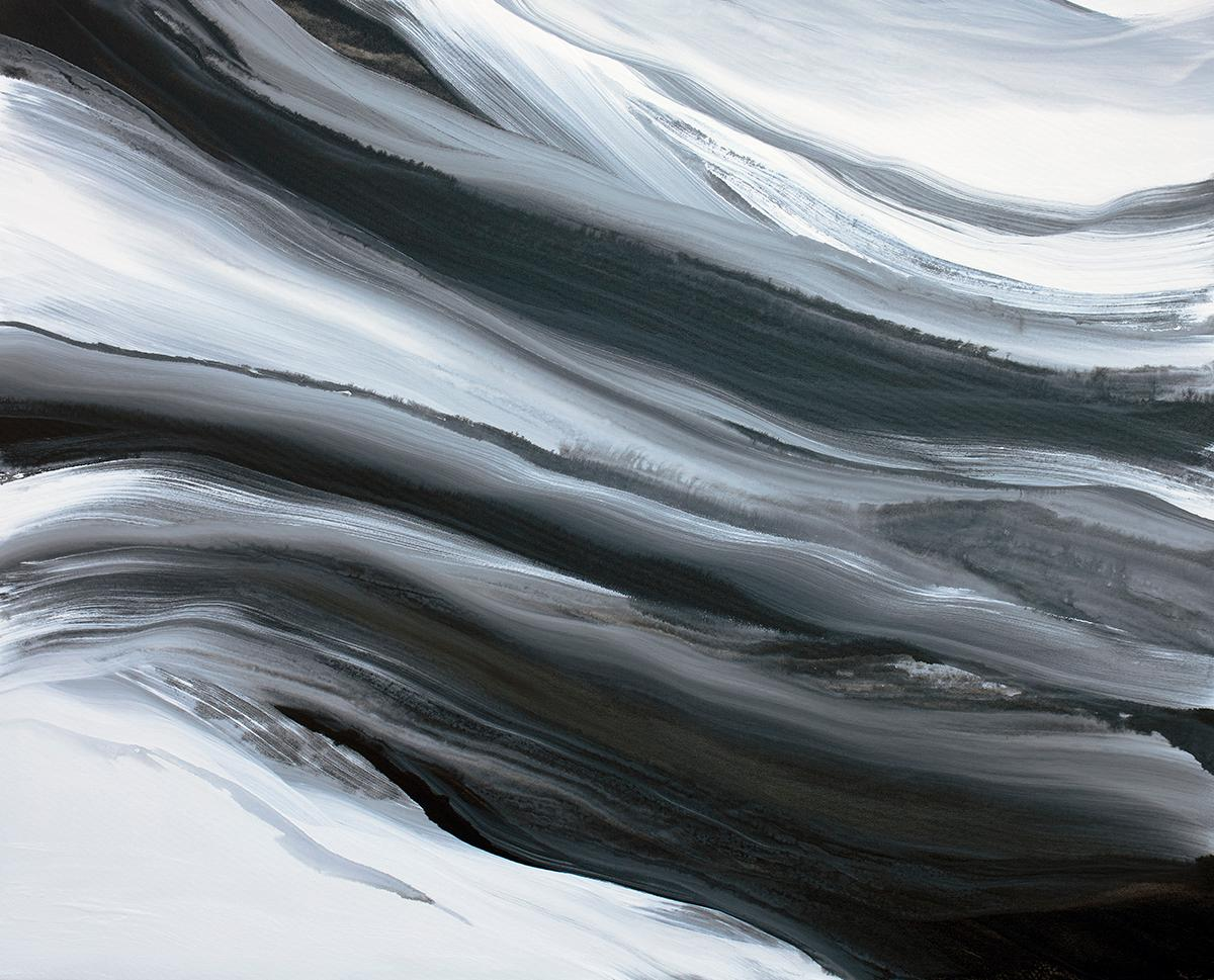 'In Black and White', Abstract Black and White Contemporary Acrylic Painting