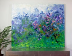 'Mom's Flower Garden', Abstract Floral Blue, Pink, Green Acrylic Painting