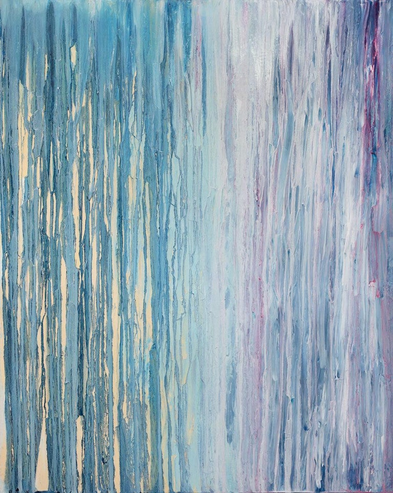 This abstract painting by Teodora Guererra is made with oil and acrylic paint on gallery wrapped canvas. This textured piece features drips and strokes of paint, layered on top of one another. Blue and deep purple serve as a backdrop to lighter pops