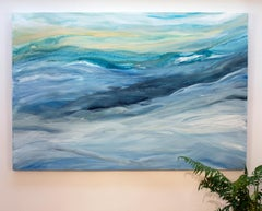 'Sterling Sea', Large contemporary abstract acrylic painting