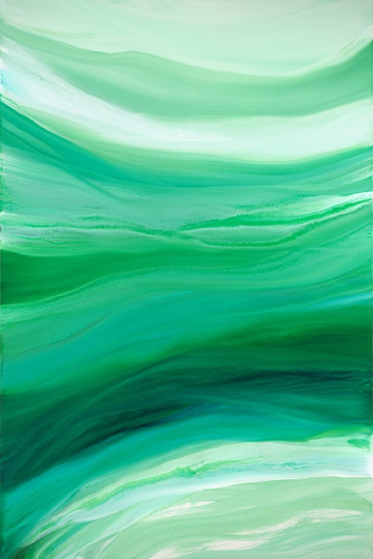 green, lime, white, simple, chic, movement, clouds, bold, atmosphere, relaxation, calm, swirl, iridescent, sky, influence: Pat Steir, contemporary, abstract   Teodora Guererra's abstract artistic vision has evolved throughout her years spent