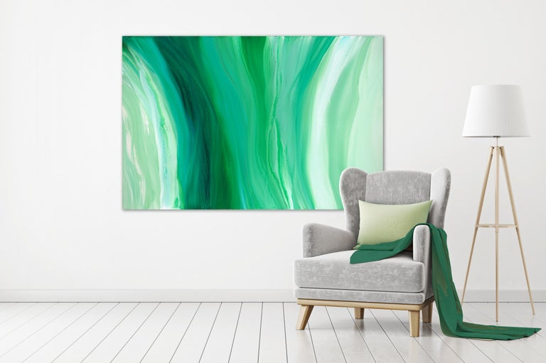 'Velveteen', Large Contemporary Abstract Green Acrylic Painting For Sale 1