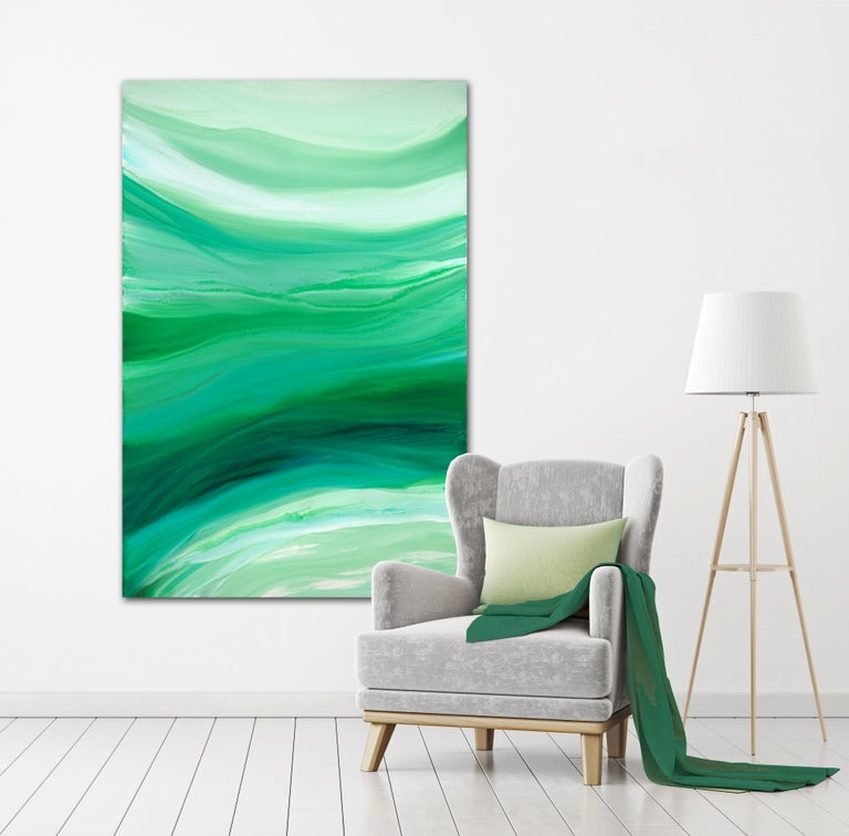 'Velveteen', Large Contemporary Abstract Green Acrylic Painting For Sale 2