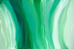 'Velveteen', Large Contemporary Abstract Green Acrylic Painting