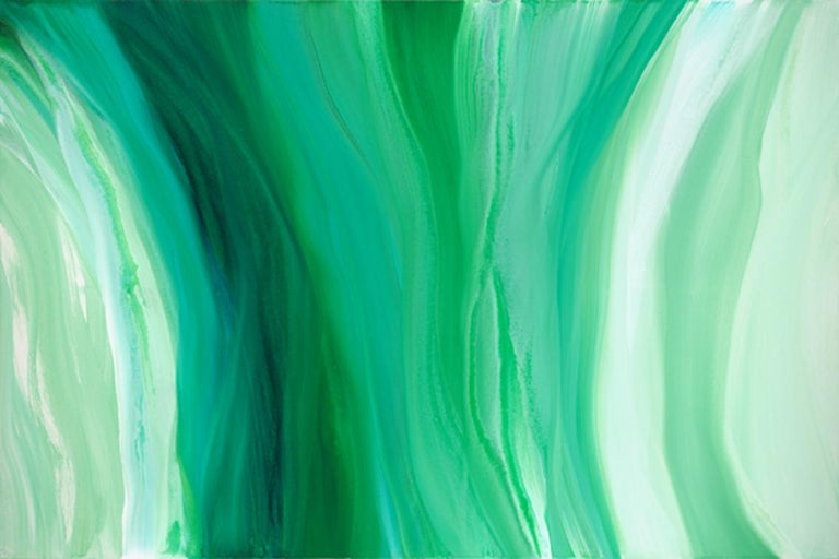Teodora Guererra Abstract Painting - 'Velveteen', Large Contemporary Abstract Green Acrylic Painting
