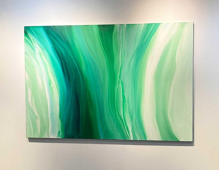'Velveteen', Large Contemporary Abstract Green Acrylic Painting For Sale 5