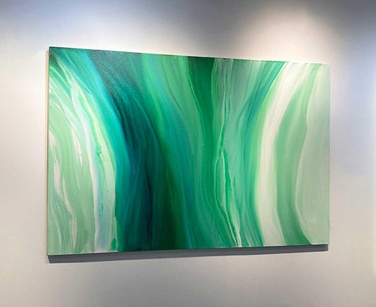 'Velveteen', Large Contemporary Abstract Green Acrylic Painting For Sale 6
