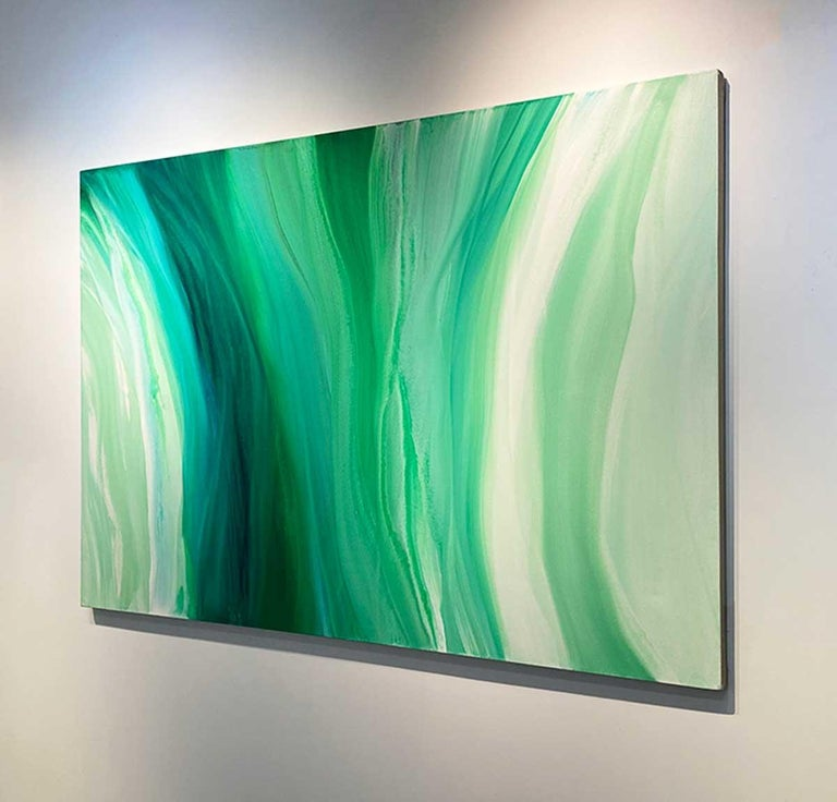 'Velveteen', Large Contemporary Abstract Green Acrylic Painting For Sale 7