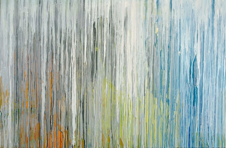 'White Cascade', Large contemporary abstract acrylic painting - Painting by Teodora Guererra
