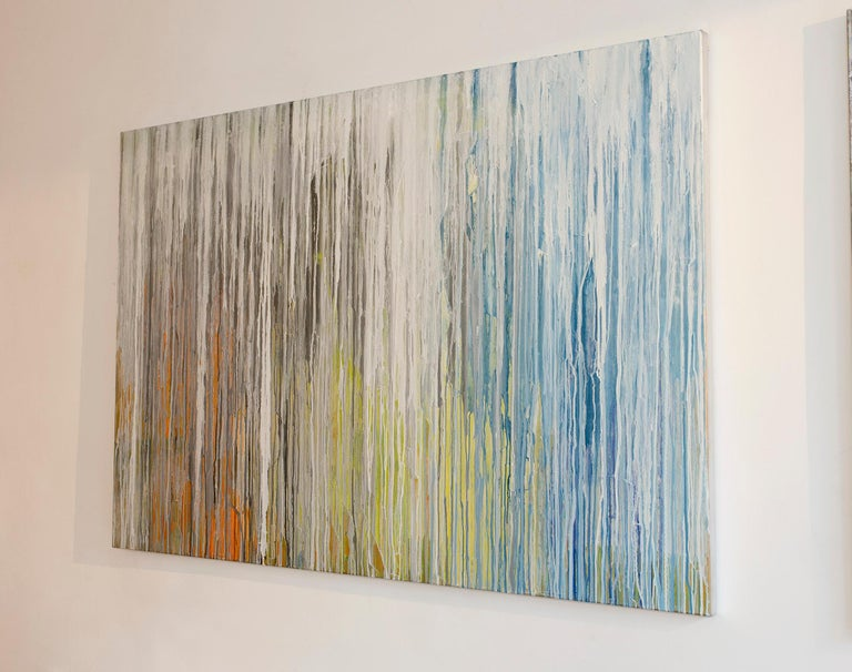 'White Cascade', Large contemporary abstract acrylic painting - Abstract Painting by Teodora Guererra
