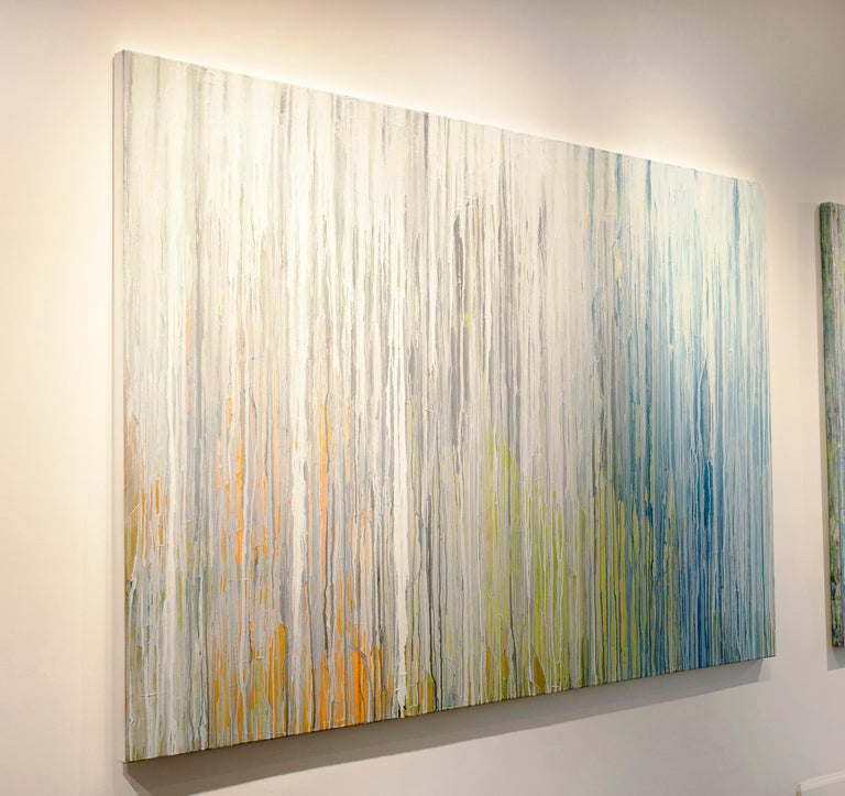 Abstract, contemporary, drip, navy, blue, silver, gold, orange, grey, yellow, green, layers, texture, Pat Steir, modern, abstraction, soothing, calm, spa, waterfall, river. Gallery wrapped canvas, Framing optional. Ready to hang.  ABOUT TEODORA