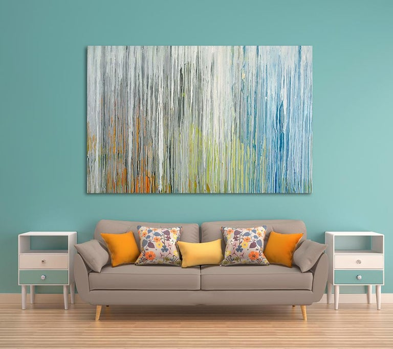 'White Cascade', Large contemporary abstract acrylic painting For Sale 1