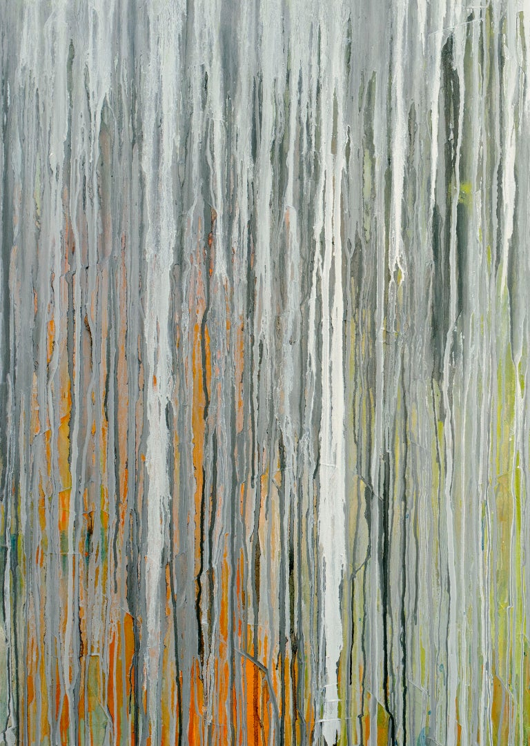 'White Cascade', Large contemporary abstract acrylic painting For Sale 2