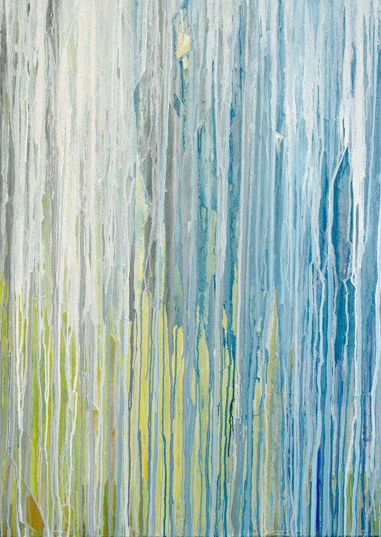 'White Cascade', Large contemporary abstract acrylic painting For Sale 3