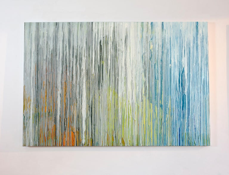 Teodora Guererra Abstract Painting - 'White Cascade', Large contemporary abstract acrylic painting