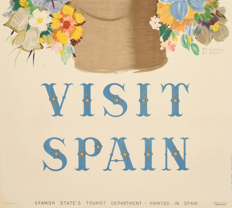 Original Vintage Poster Visit Spain Travel Floral Design Flowers Art Typography - Beige Print by Teodoro Delgado