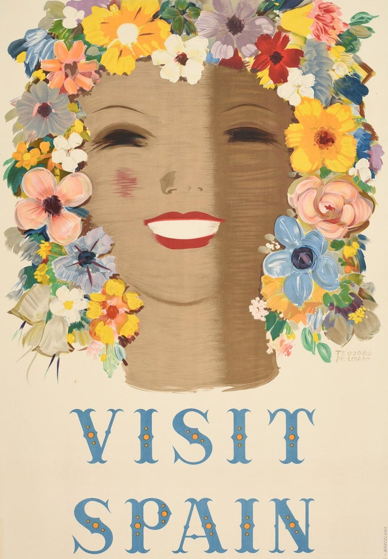 Original vintage travel poster - Visit Spain - featuring a colourful image of a lady smiling to the viewer with her face framed by flowers as her hair and the stylised lettering below. Artwork by the painter and illustrator Teodoro Delgado