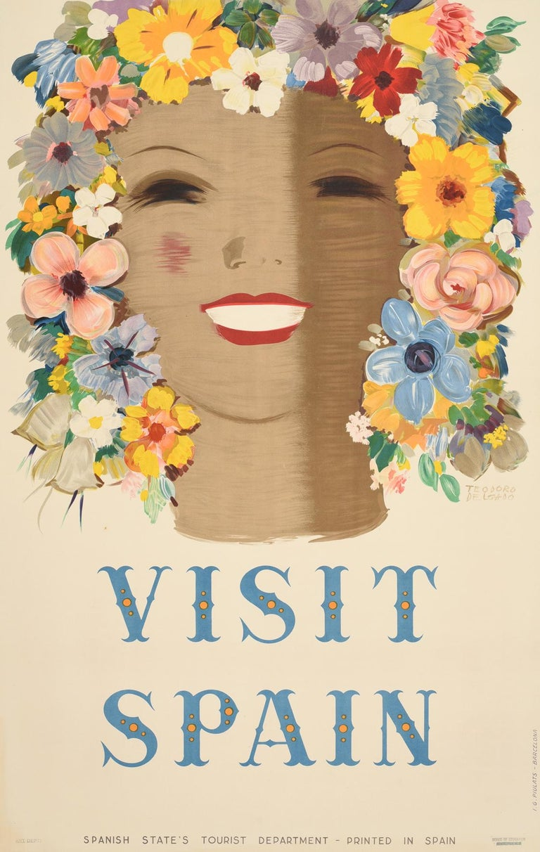 Teodoro Delgado Print - Original Vintage Poster Visit Spain Travel Floral Design Flowers Art Typography