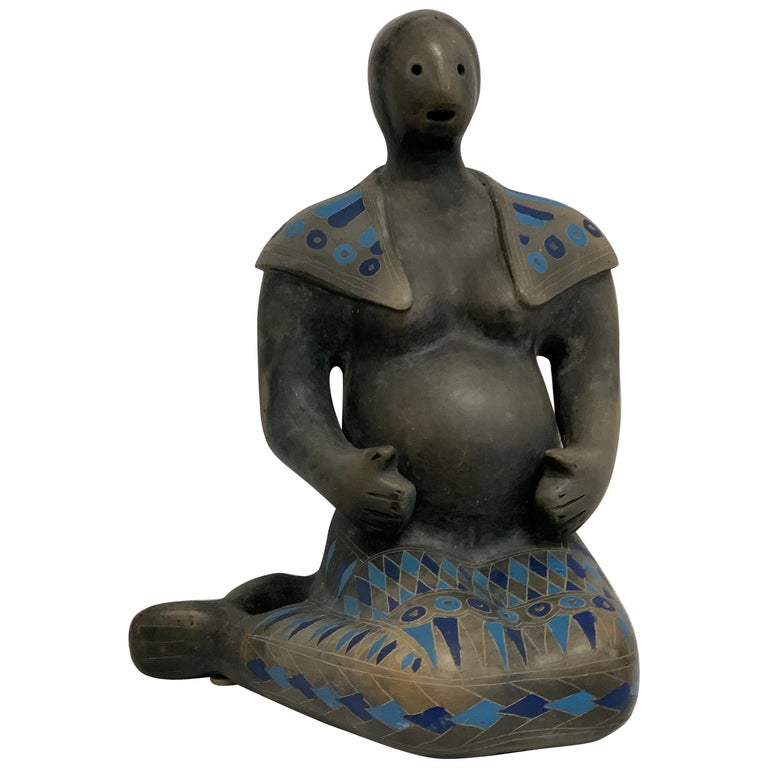 Teotihuacan Mexican Black Ware Pottery Figure For Sale