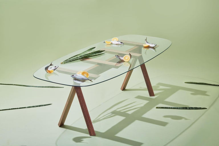 Other Tepacê Dining Table in Hardwood with Glass Top, Brazilian Contemporary Design For Sale