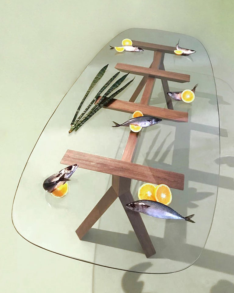 Tempered Tepacê Dining Table in Hardwood with Glass Top, Brazilian Contemporary Design For Sale