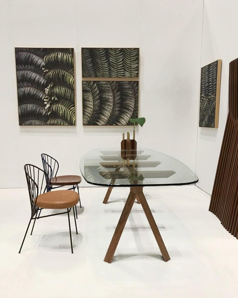 Tepacê Dining Table in Hardwood with Glass Top, Brazilian Contemporary Design In New Condition For Sale In Sao Paulo, BR