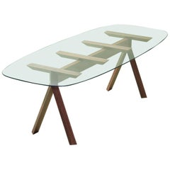 Tepacê Dining Table in Hardwood with Glass Top, Brazilian Contemporary Design