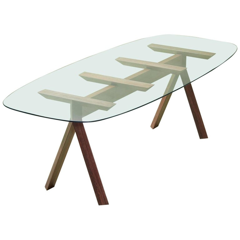 Tepacê Dining Table in Hardwood with Glass Top, Brazilian Contemporary Design For Sale