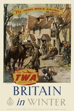 Fly TWA Britain in Winter original vintage travel poster