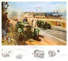 Original Vintage Bentley Motor Poster By Cuneo Bentleys At Le Mans 1929 Car Race