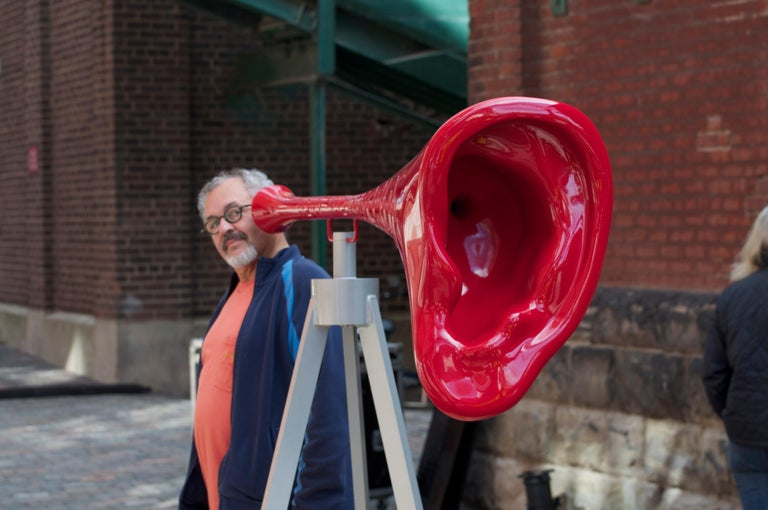 Hear the World is an outdoor steel sculpture and the companion piece to Shout. Canadian artist Terence McGlade was inspired to create this work following a period of deafness in one ear. This work amplifies sound frequencies and reminds us of the