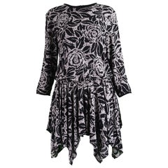 Terence Nolder Silk & Sequins Grey Black Handkerchief Vintage Party Tunic Dress