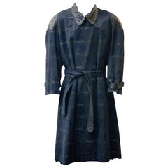 Terence Nolder Vintage 80s Patterned Wool Coat with Leather Trim