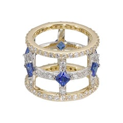Teresa Small Banded Cage Ring with Princess Cut Sapphires and White Diamonds