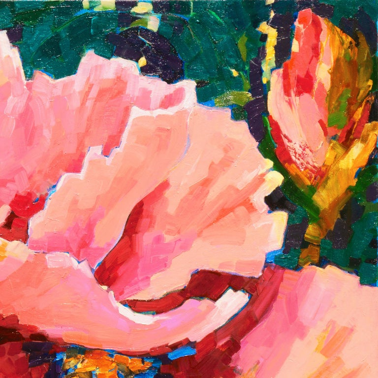Signed lower right, 'T.K.S' and painted 2019; additionally signed verso.  A large and vibrant study of poppy blossoms contrasted against a background of fragmented lilac, forest green and indigo.  (The following is the artist's self-description of